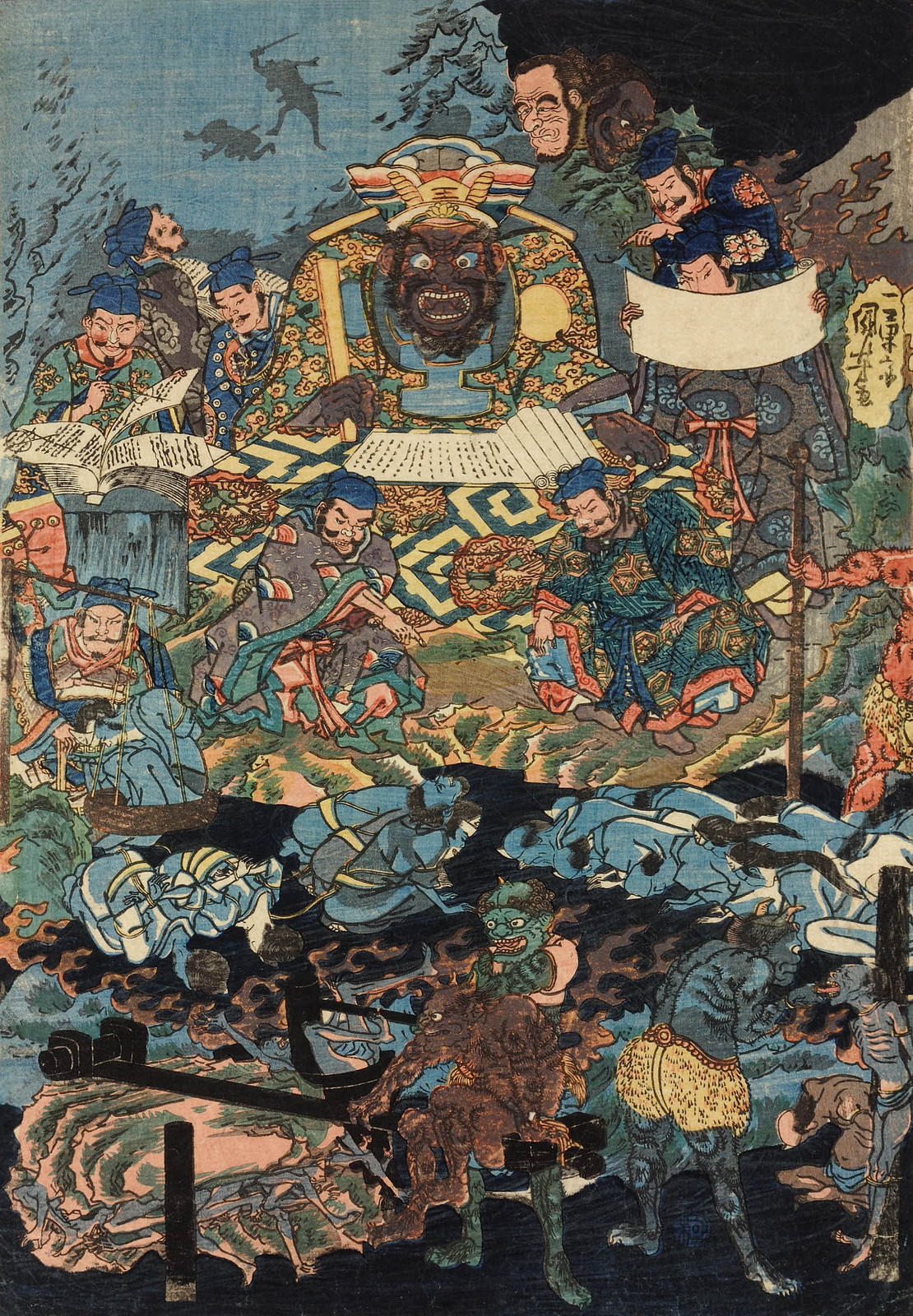 Utagawa Kuniyoshi - Various ghosts, devil-like figures, and the King of Hell lording over his domain, Edo Period (right panel)