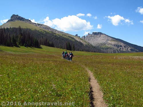 Hiking through Bonneville Pass. Those are the Pinnacle Buttes to our left and right. Shoshone National Forest, Wyoming