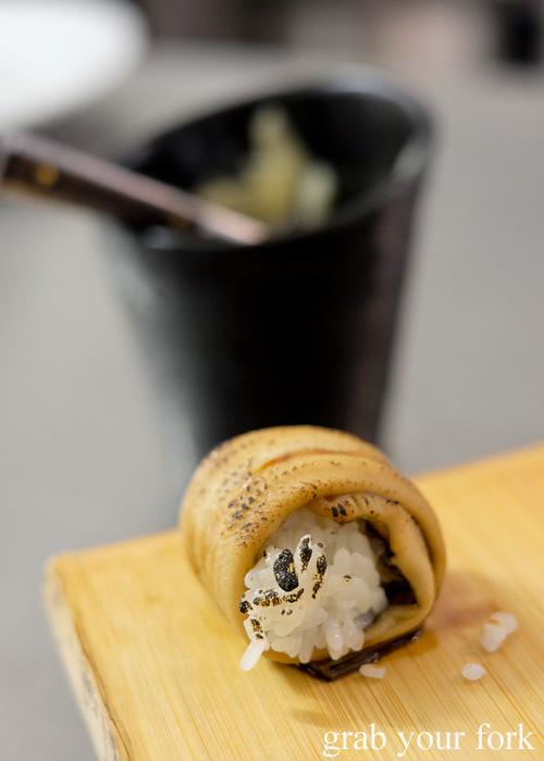 Blowtorched anago eel sushi at Sashimi Shinsengumi, Crows Nest