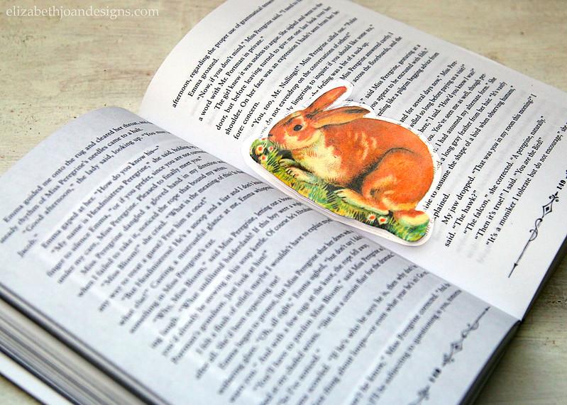 Laminated Vintage Bunny Bookmark