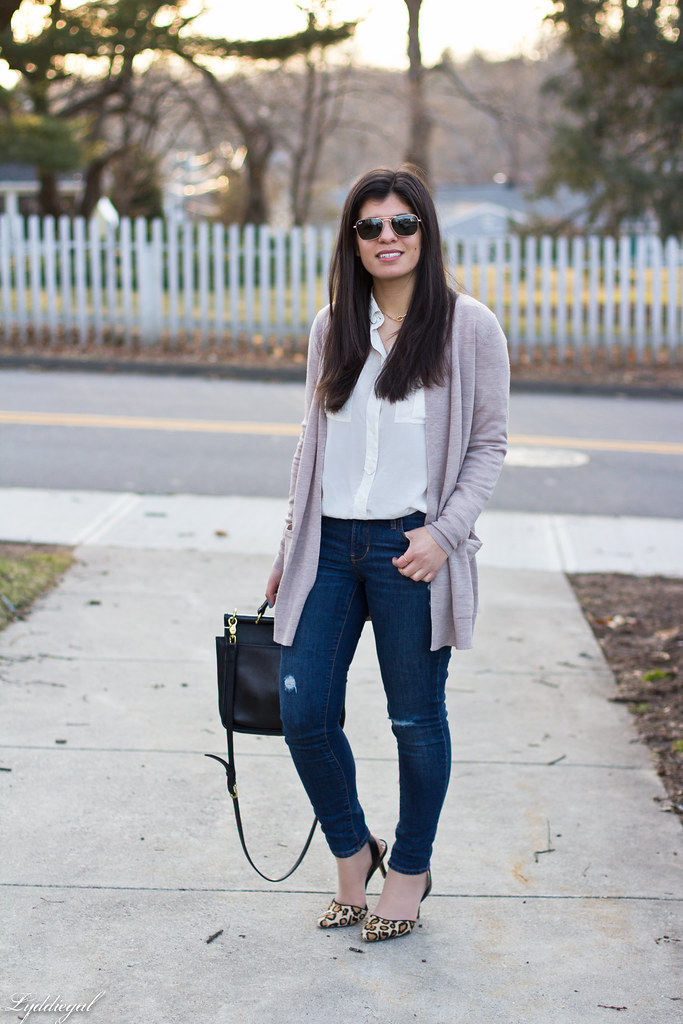 white silk shirt, jeans, tan cardigan, leopard pumps-1.jpg