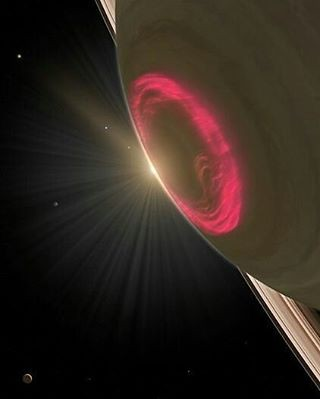 Aurora al polo di Saturno! Ammirate che colori! Fantastica. Credit:NASA  Aurora at the pole of Saturn! Admire what colors! Wonderful.  #aurora #Saturno #Saturn #NASA #astronomy #astronomia #space #black #sun #Cassini #PassioneAstronomia