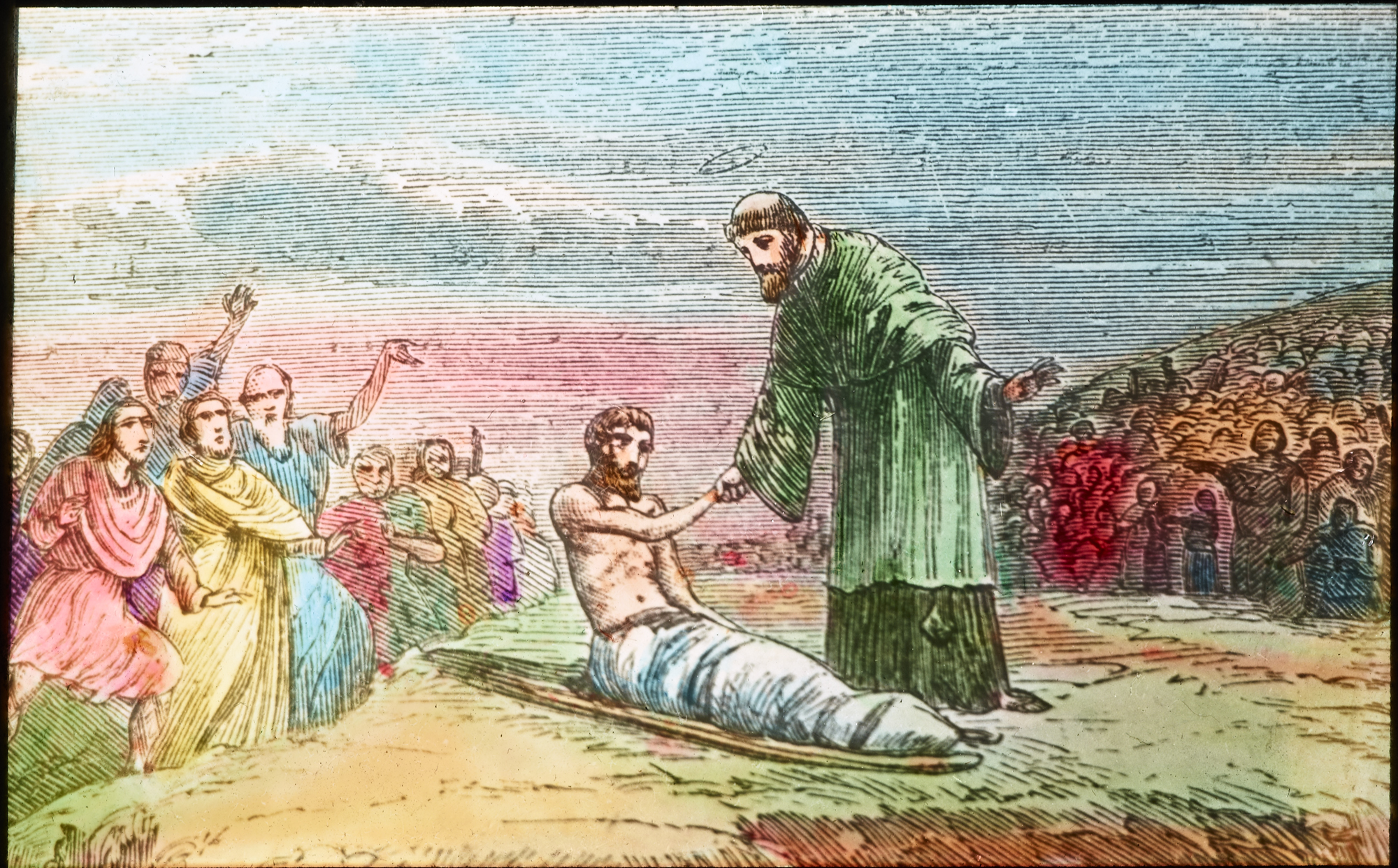 St. Patrick healing a sick man while the crowd stand by and marvel at his faith!