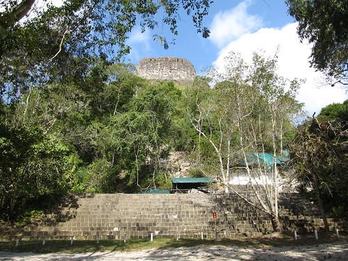 Tikal: le Temple à la Double Tête de Serpent, totalement envahi par la végétation