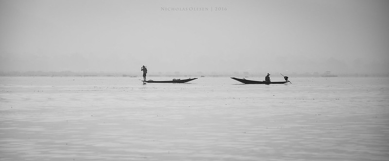 Inle Lake Boatmen - Black and White
