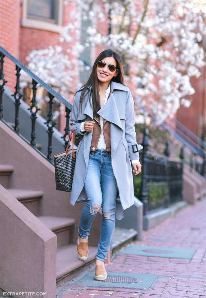 Spring layers: Cognac brown + gray trench