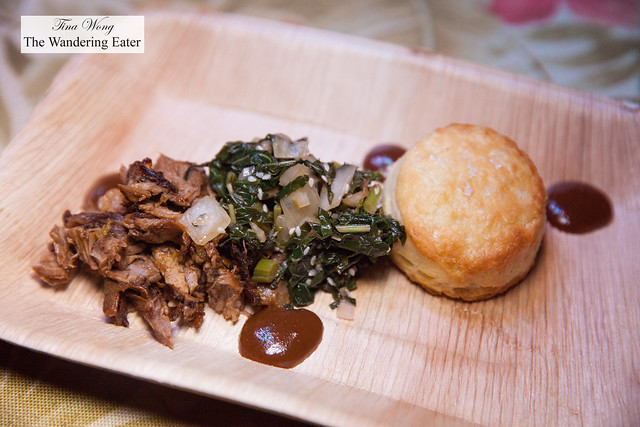 Smoked local goat with mango barbecue sauce and biscui by Chef Edward Lee (guest chef)