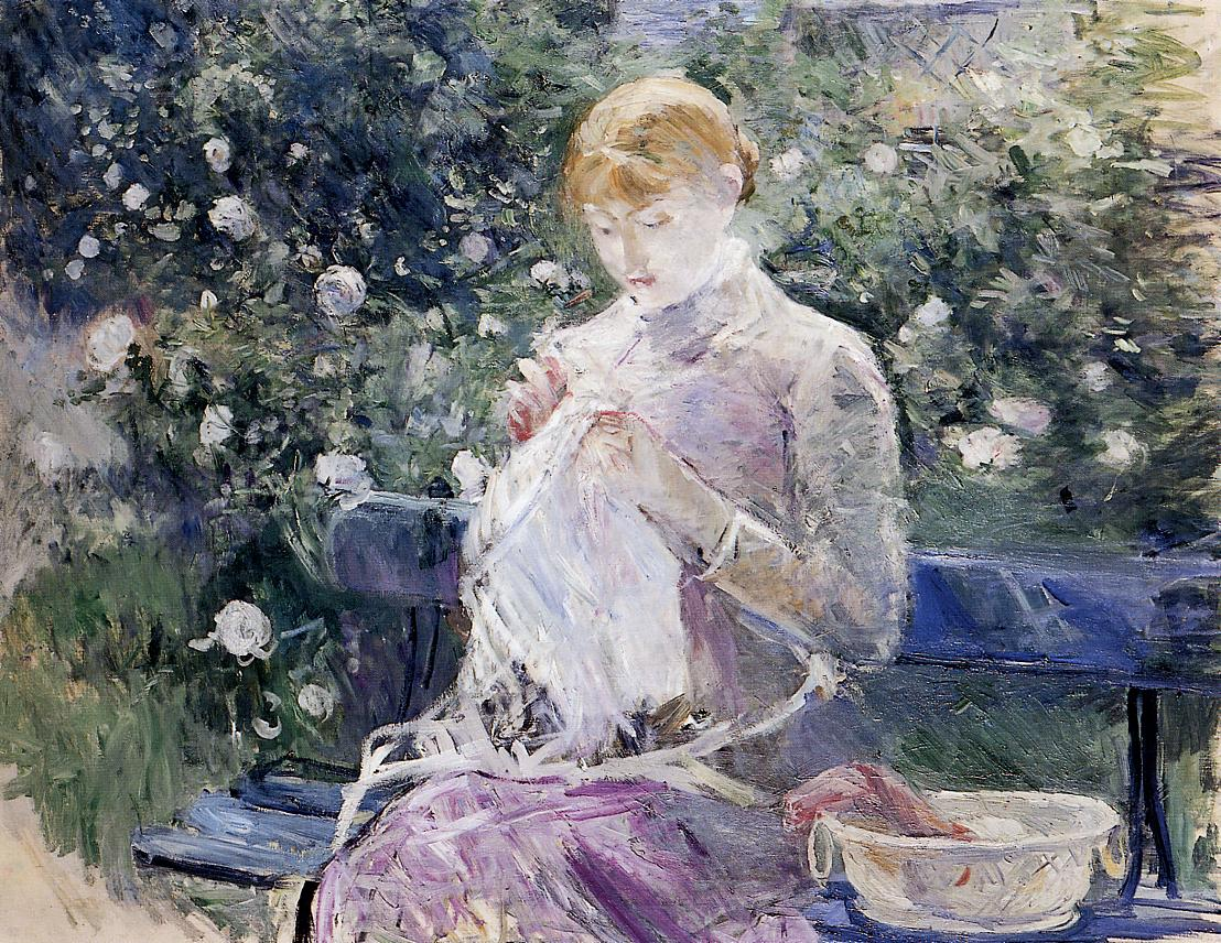 Pasie Sewing in the Garden by Berthe Morisot, 1882