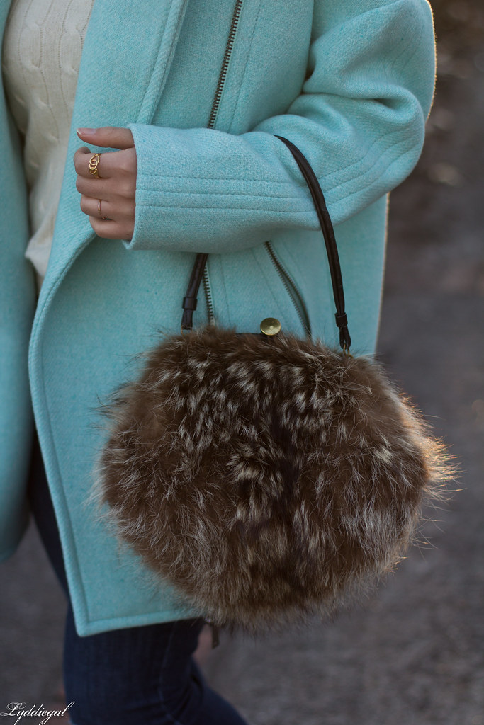 mint cocoon coat, white sweater, denim, fur bag.jpg