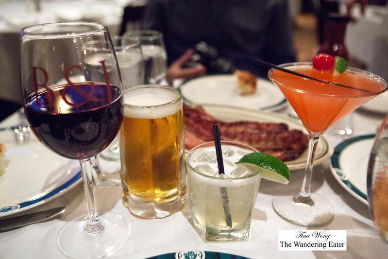 Oour drinks - Pinot Noir (Robert Mondavi), Goose Island Beer, Margarita, Brazilian Cosmopolitan