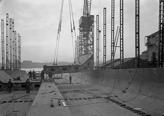 Manoeuvring prefabricated sections at Readhead's shipyard