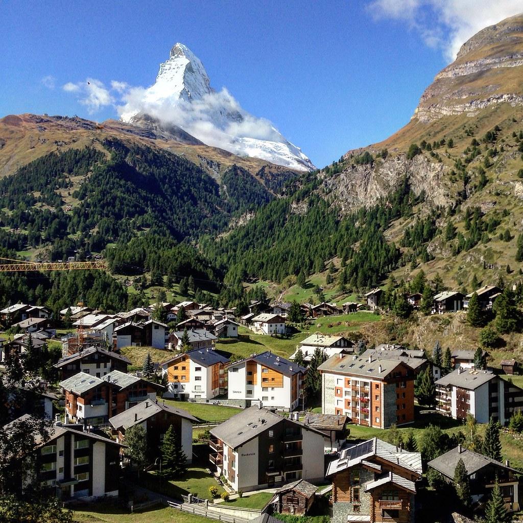 Matterhorn and the village of Zermatt