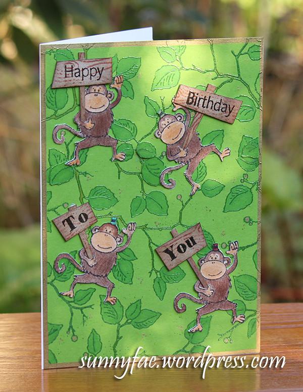 Happy Monkey Birthday Card
