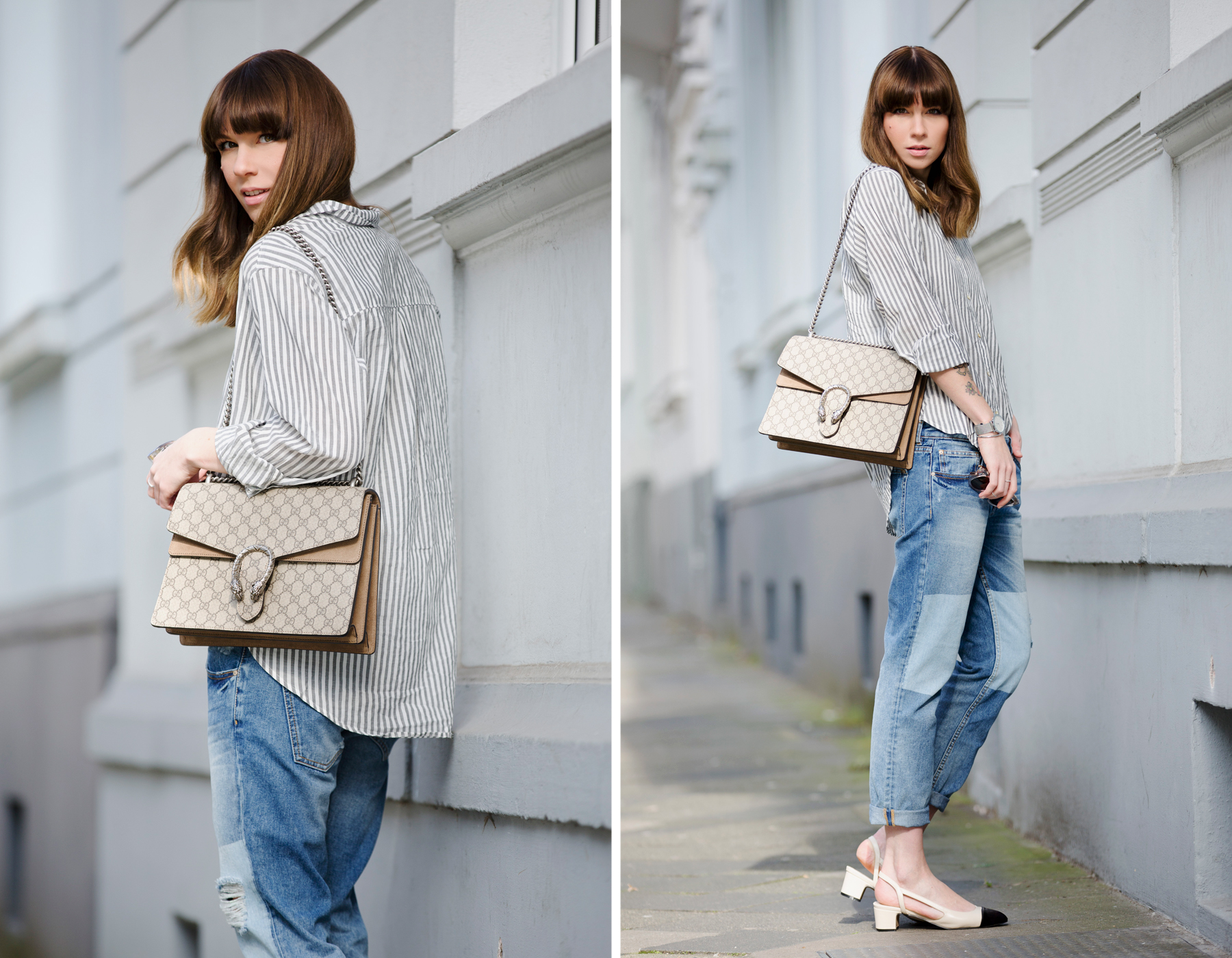 francaise striped shirt parisienne style bangs brunette jeans chanel lookalike heine pumps chic luxury gucci dionysus bag sun spring outfit ootd look le specs fashionblogger ricarda schernus cats & dogs blog 5