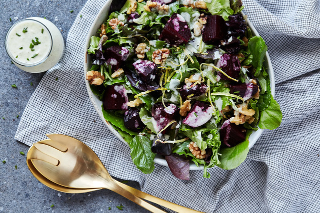 Spring Greens Salad with Roasted Beets and Creamy Feta Vinaigrette