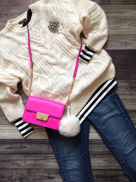 cable knit + stripes + pink