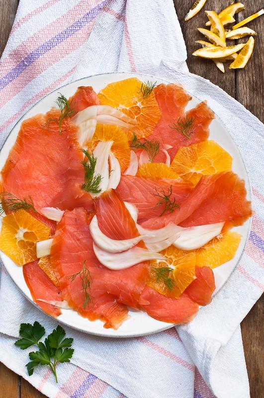 Carpaccio salmone, finocchi e arancia