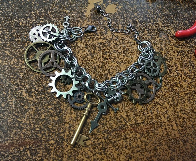 Clockwork charm bracelet, finished.  #nofilter #clockwork #steampunk #bracelet #handmade #jewelry #charmbracelet #dantesspirit