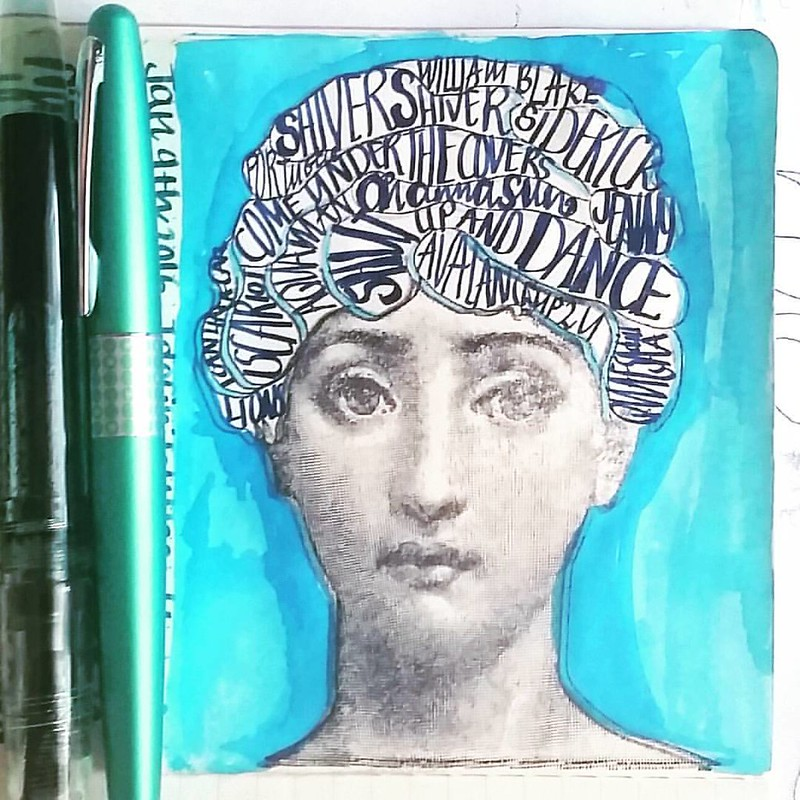 "Lately I have been having ""walk the moon"" songs in my head. And this stamp from Lost Coast Designs is such a fun one. Getting the words out of my head and onto paper before going to bed. #creativeminds #artjournalmt #artjournal #walkthemoon #songs #rubber"