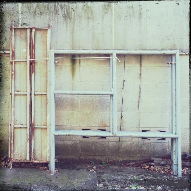 Rusty metal shelves