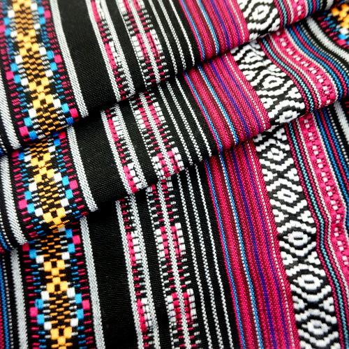 粉黑彩條 民族風 原住民 雲南麗江民族 裝飾服裝布料 CE890050