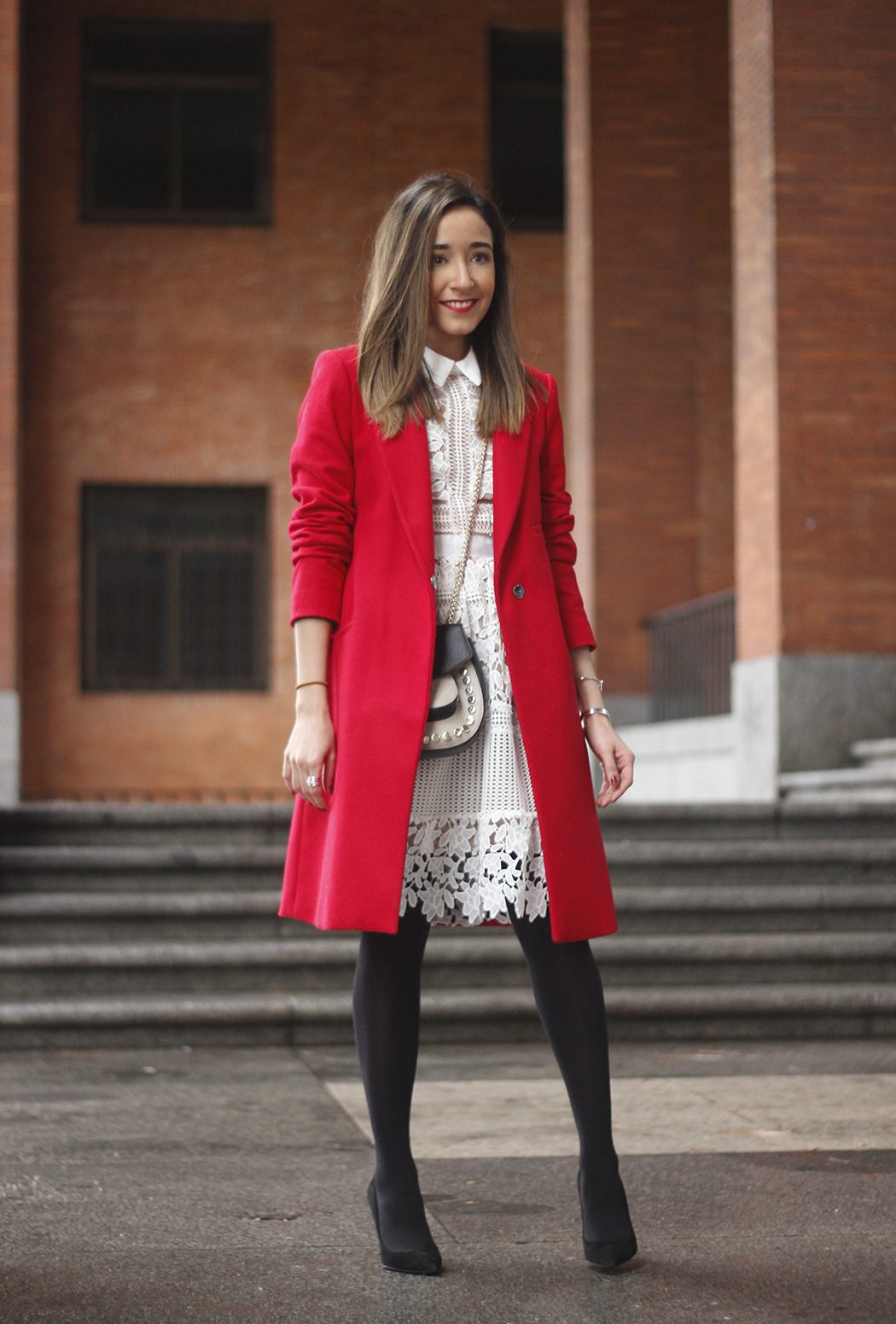white lace dress with red coat uterqüe bag outfit style02