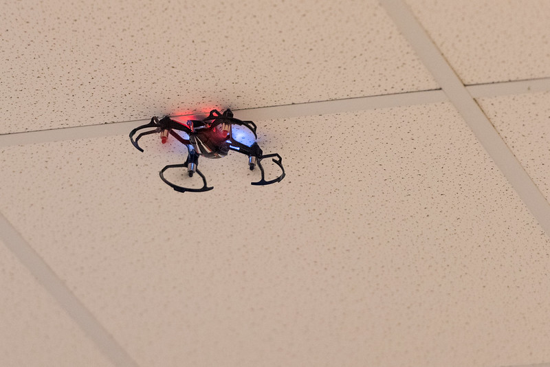 Rodney's new micro quad inverted and stuck to the ceiling.