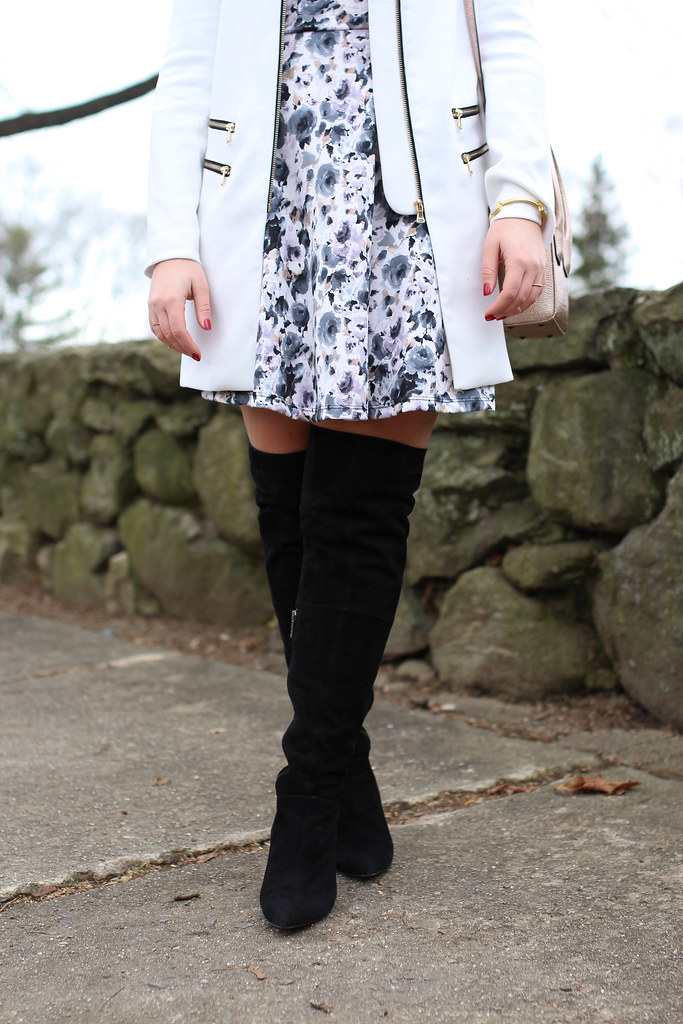 Fur Hat | Floral Dress | OTK Boots | White Coat | Winter Dressed Up Outfit