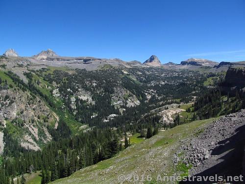Looking down into Alaska Basin from Alaska Basin Overlook, Jedediah Smith Wilderness and Grand Teton National Park, Wyoming