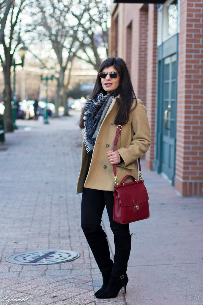 black sweater, camel coat, red coach bag, black boots-1.jpg