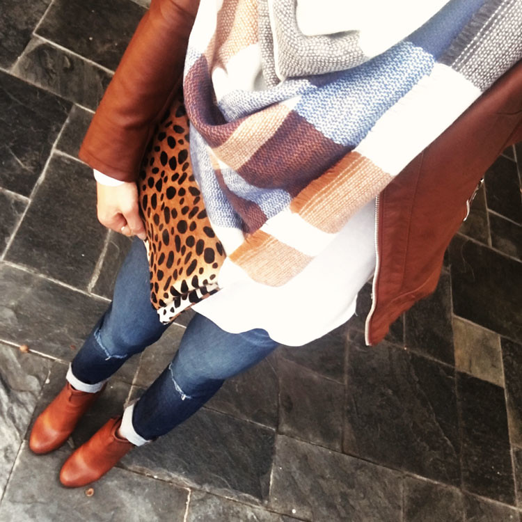 cute & little blog | petite fashion | cognac moto jacket, plaid blanket scarf, white tee, distressed jeans, cognac ankle boots, leopard clutch | winter outfit