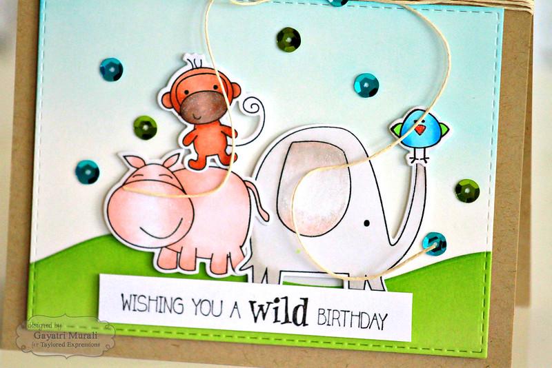 Wishing you a wild birthday card closeup