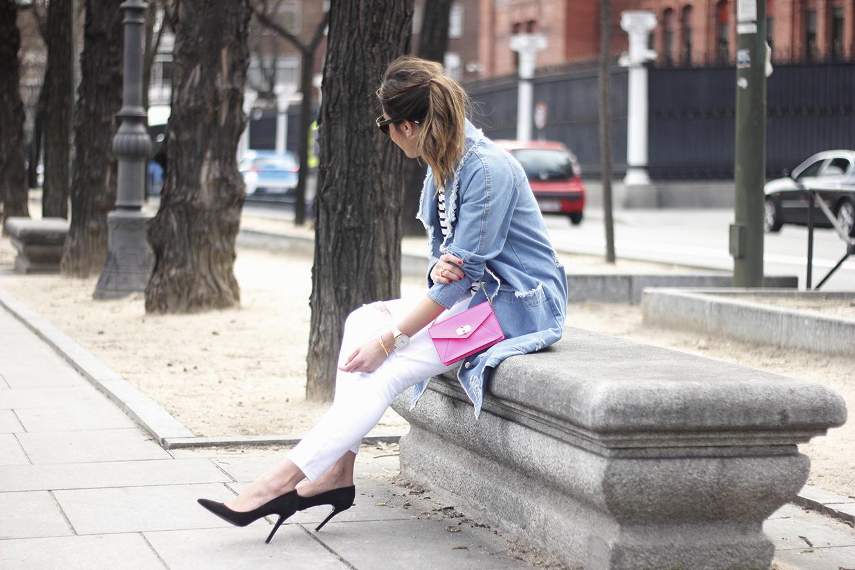 Stripes and Denim Coat Gloria Ortiz Heels Accessories Sunnies Outfit13
