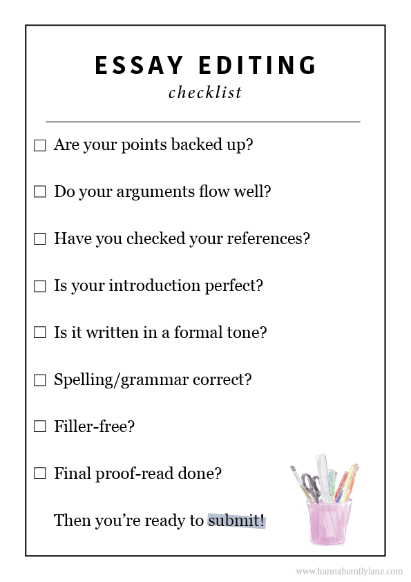 Writing an essay checklist