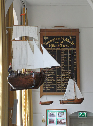 Boats in the church in Markham, Holland