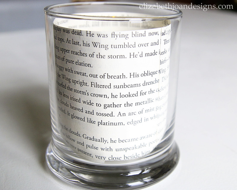 Glass Candle Holder Book Page