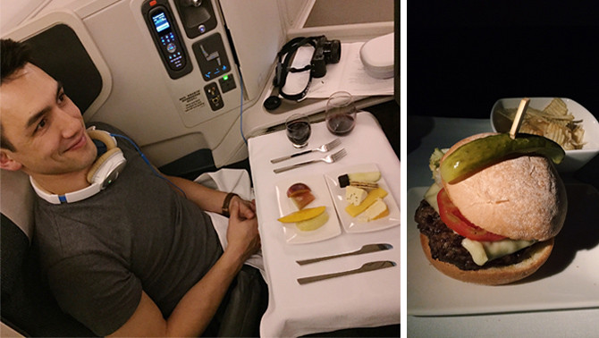 cathay pacific business classs fruit cheese plate burger