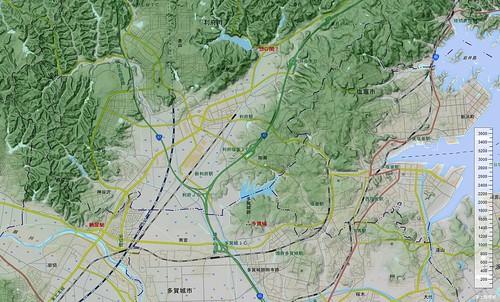 多賀城と惣の関の位置関係