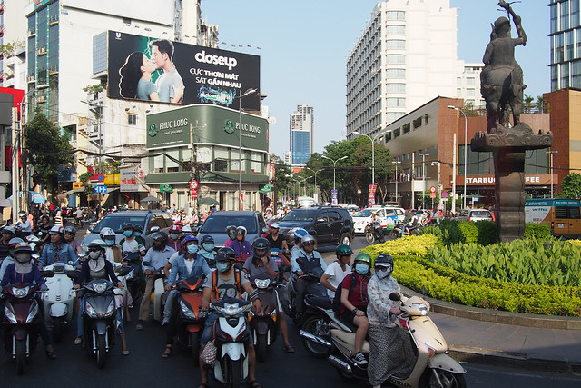 motorcycles at a roundabout. Ho Chi Minh City (Saigon)