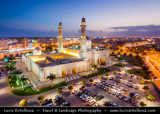 Oman - Salalah - Sultan Qaboos Grand Mosque at Dusk - Twilight - Blue Hour - Night