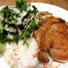 chicken steak, mashed potatoes...no need the rice  #bibbar #grandfrontosaka #osaka #japan