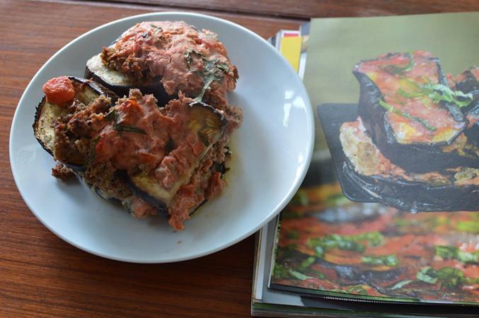 Italian sausage and eggplant strata