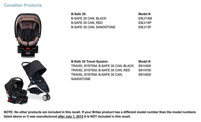 b safe 35 recall for canada january 2016