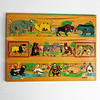 Vintage Simplex Holland Wooden Peg Puzzle - Zoo Animals Painted Wood Toy 1940s - 1950s