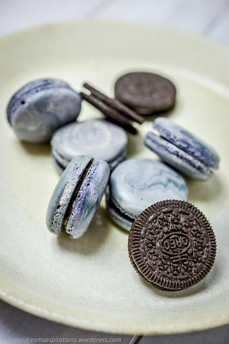 Oreo macarons with white chocolate ganache