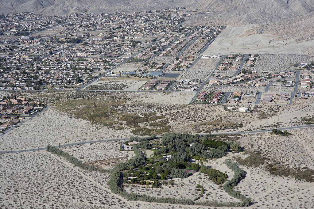 Aerial view of Two Bunch Palms and the San Andreas Fault, Desert Hot Springs, Riverside County, California