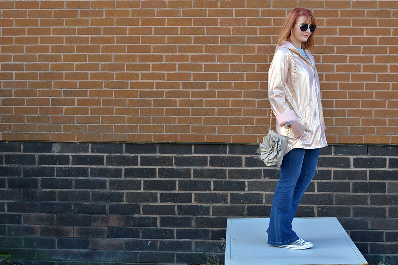Rose gold metallic rain coat, flared jeans, Converse | Not Dressed As Lamb