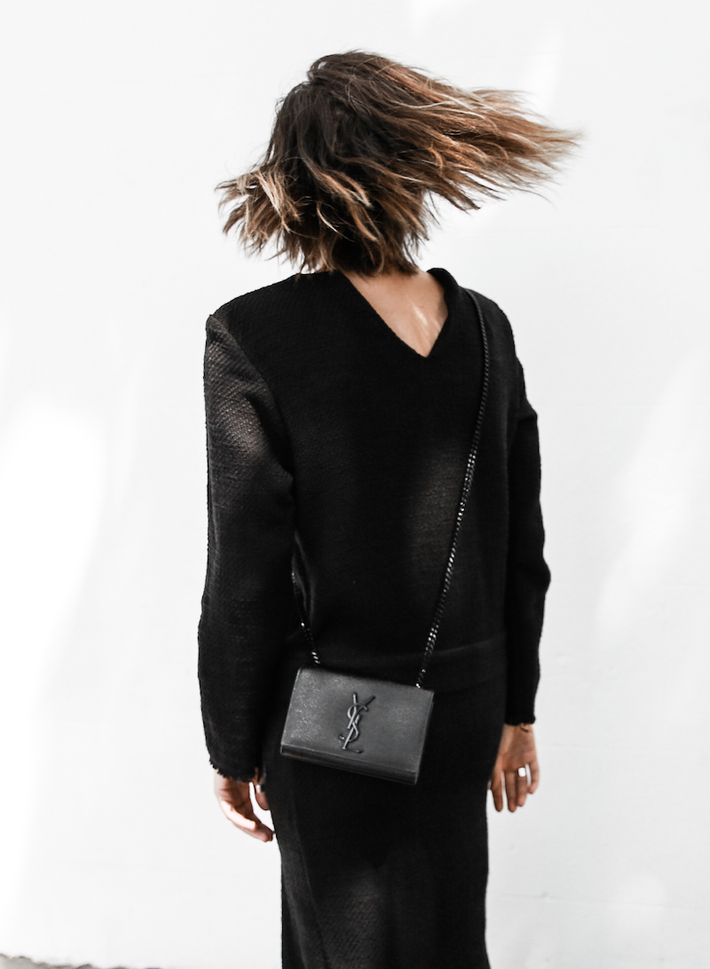 long sleeve maxi dress street style inspo fashion blogger transseasonal YSL chain bag monochrome modern legacy  (6 of 13)