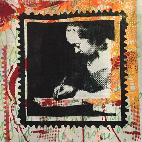 "Another #wip detail - collage includes snippet from ""woman writing a letter"" circa 1655 by Gerard ter Borch #screenprinting #workinprogress"
