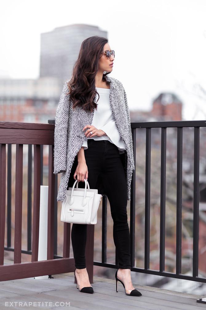 black white outfit celine nano bag goatskin